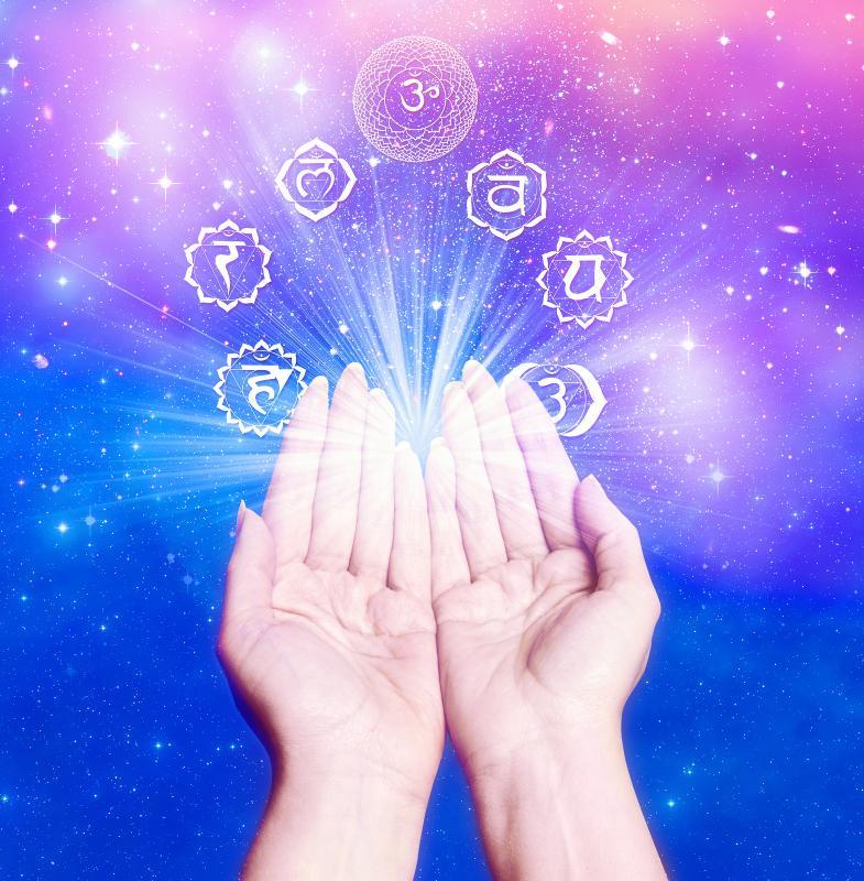 Reiki hands chakra symbols purple